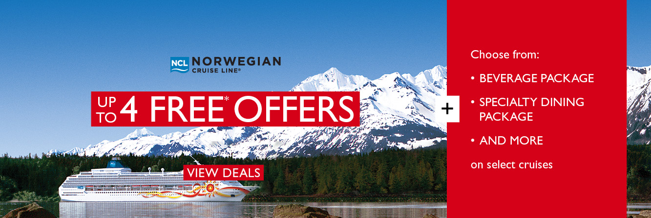 Up to 5 free offers* on select cruises with Norwegian Cruise Line