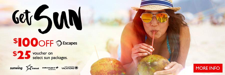 Flight Centre's Get Sun Sale - Save $100* on Escapes packages now!