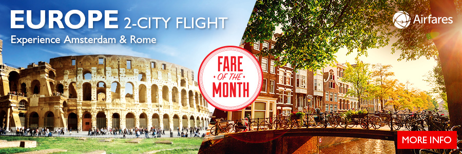 Flight Centre's Fare of the Month - Experience Amsterdam & Rome on one ticket!