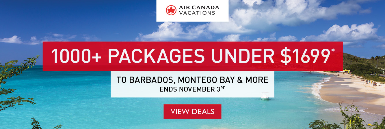 1000+ packages under $1699 to Barbados, Montego Bay & beyond with Air Canada Vacations