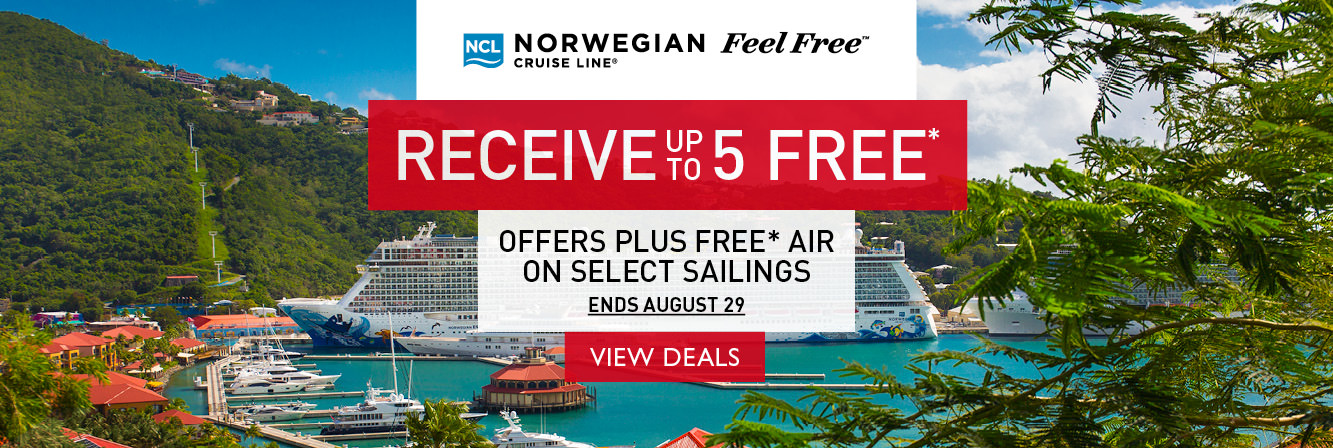 Receive up to 5 free offers PLUS free air on select Norwegian Cruise Line sailings