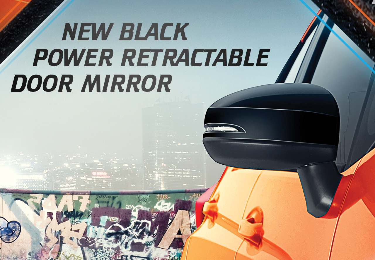 New Black Power Retractable Door Mirror