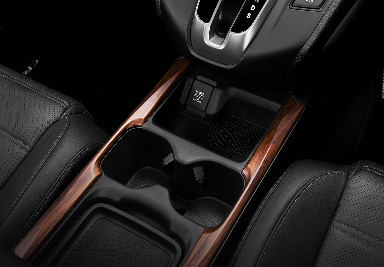 Center Console with Wood Panel