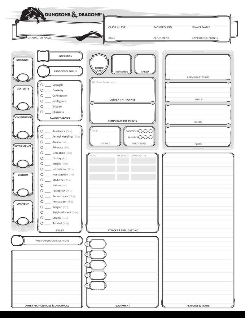 photograph regarding Pathfinder Character Sheet Printable identified as Dungeons Dragons: Persona Sheets (Blank) - Rocketbook