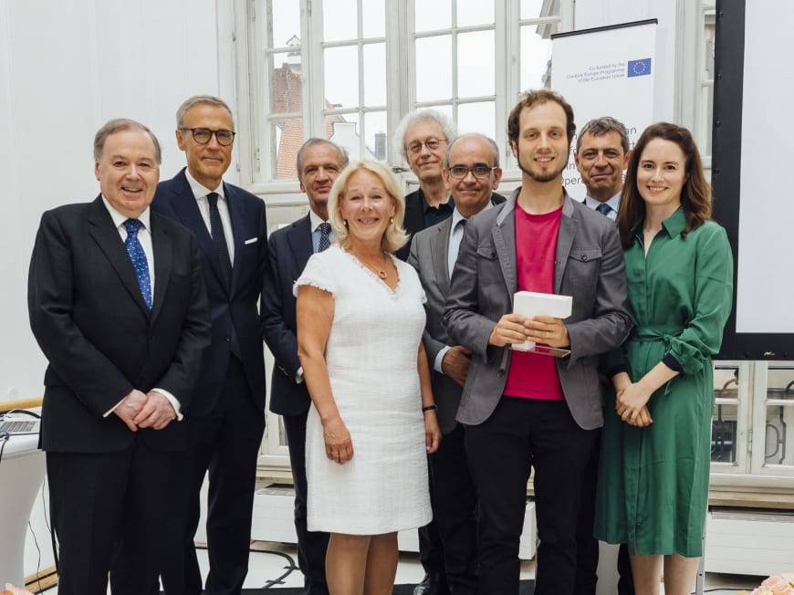 Nicholas Payne (Director of Opera Europa), Giovanni Liverani (CEO of Generali Deutschland), Jérôme-François Zieseniss (President of FEDORA), Birgitta Svendén (FEDORA Opera Jury Member - General and Artistic Director of Royal Swedish Opera), Bernard Foccroulle (General Director of the Festival d'Aix-en-Provence), Paolo Pinamonti (FEDORA Opera Jury Member - Artistic Director of Teatro di San Carlo Napoli), Ondřej Adámek (Composer of 'Seven Stones'), Jean-Yves Kaced (Secretary General of FEDORA and Director of the AROP - The Association of Friends and Donors of the Paris National Opera), Edilia Gänz (Director of FEDORA)