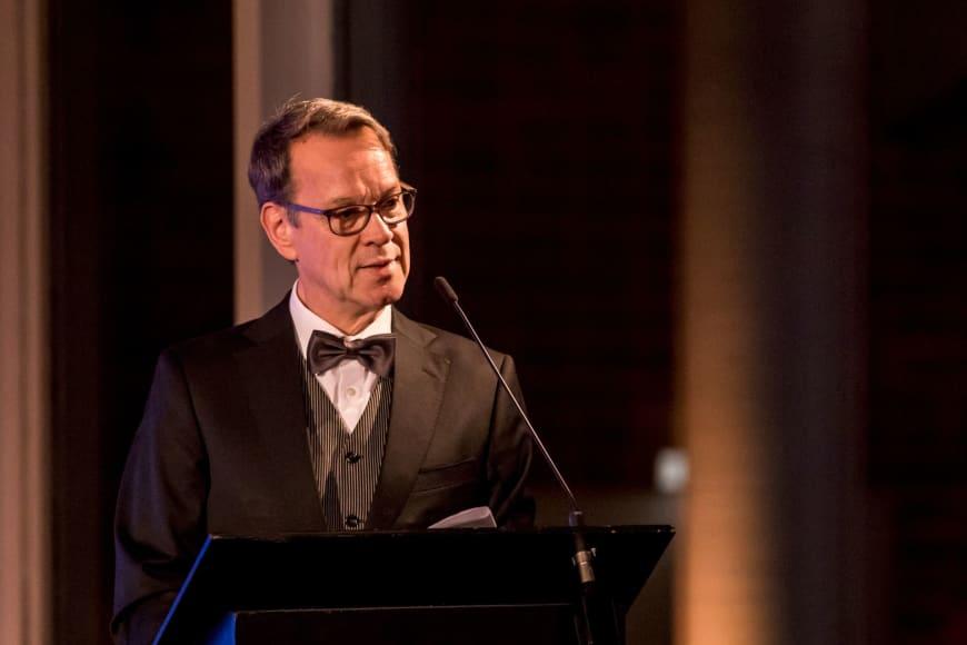 Albrecht Puhlmann giving a speech at the Nationaltheater Mannheim Roadshow