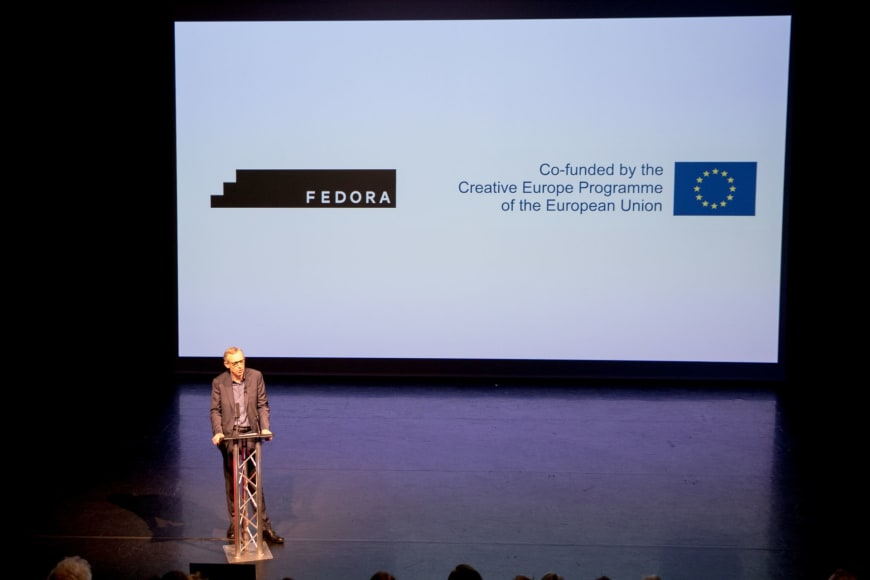 Alistair Spalding presenting Sadler's Wells participation in the FEDORA Platform