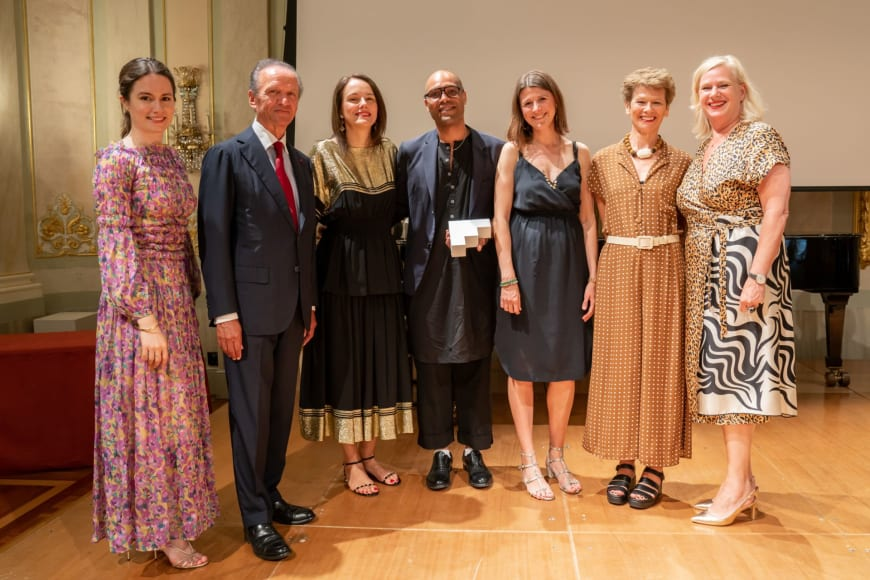 (From left to right)  Edilia Gänz, Director of FEDORA Jérôme-François Zieseniss, President of FEDORA Sibylle Gallardo-Jammes, International Communications Director of Van Cleef & Arpels Benoit Swan Pouffer, Artistic Director of Rambert Helen Shute, Chief Executive & Executive Producer of Rambert Judith Mackrell, Dance Writer, The Guardian UK Barbara Gessler, Head of Unit Creative Europe of the European Commission