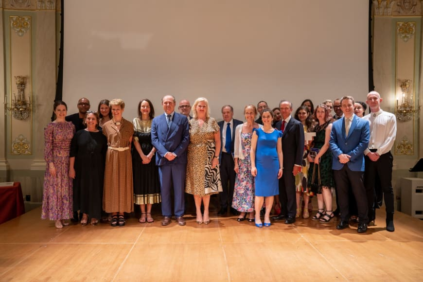 (From left to right) Edilia Gänz, Director of FEDORA, Benoit Swan Pouffer, Artistic Director of Rambert, Laura Berman, Designated Artistic Director Staatsoper Hannover  Helen Shute, Chief Executive & Executive Producer of Rambert Judith Mackrell, Dance Writer, The Guardian UK, Sibylle Gallardo-Jammes, International Communications Director of Van Cleef & Arpels, Philippe Donnet, CEO of Generali Group, Maestro Fortunato Ortumbina, Sovrintendente of Teatro La Fenice di Venezia, Barbara Gessler, Head of Unit Creative Europe of the European Commission, Nicholas Payne, Director of Opera Europa, Christine Bastin, Choreographer of Touche le ciel, Giorgos Matskaris, Dancer/ Movement Supervision,  Orianne Vilmer, Cofondatrice & CEO of La Fabrique de la Danse, Niki Xenou, Artistic Associate GNO – Development & Fundraising,  Jérôme-François Zieseniss, President of FEDORA, Ann Kristin Sofroniou, Musician at Greek National Opera, Hannah Griffiths, General Manager, Birmingham Opera Company Rhian Hutchings, Chair of RESEO, David B. Devan, General Director & President of Opera Philadelphia, Ted Huffman, Stage Director of Denis & Katya, Valérie Chevalier, General Director of Opéra Orchestre national Montpellier, Philip Venables, Composer of Denis & Katya