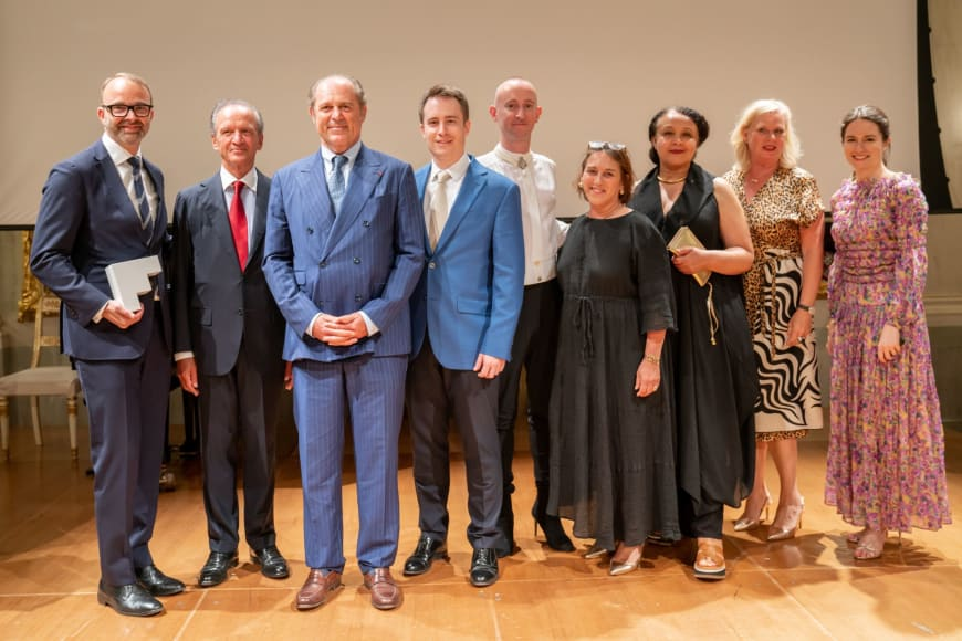 (From left to right) David B. Devan General Director & President, Jérôme-François Zieseniss, President of FEDORA, Philippe Donnet, CEO of Generali Group Ted Huffman, Stage Director of Denis & Katya  Philip Venables, Composer of Denis & Katya Laura Berman, Designated Artistic Director Staatsoper Hannover  Valérie Chevalier, General Director of Opéra Orchestre national Montpellier Barbara Gessler, Head of Unit Creative Europe of the European Commission Edilia Gänz, Director of FEDORA