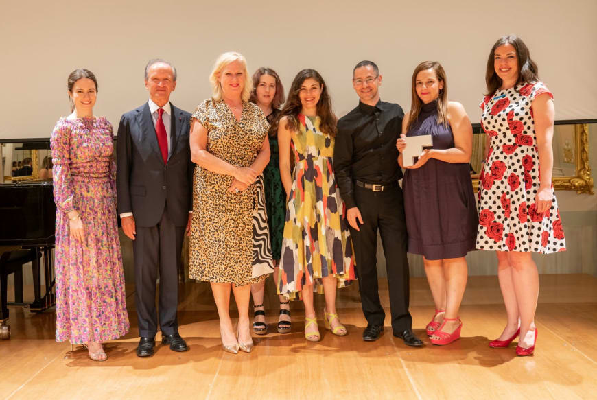 (From left to right) Edilia Gänz, Director of FEDORA, Jérôme-François Zieseniss, President of FEDORA, Barbara Gessler, Head of Unit Creative Europe of the European Commission, Rhian Hutchings, Chair of RESEO - European Network for Opera, Music & Dance Education, Ann Kristin Sofroniou, Musician & Artistic Associate of the Learning and Participation Department, Giorgos Matskaris, Special Associate to the GNO Artistic Director,  Niki Xenou, Artistic Associate National Opera of Greece - Εθνική Λυρική Σκηνή – Development & Fundraising,  Hannah Griffiths, General Manager, Birmingham Opera Company