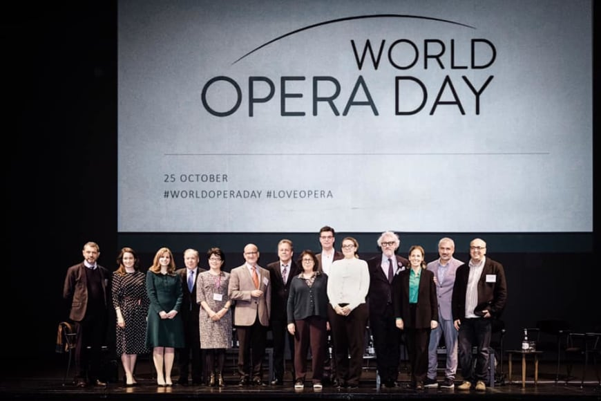 (from left to right) Jean-Yves Kaced (FEDORA), Edilia Gänz (FEDORA), Julia Lagahuzère (Opera for Peace), Nicholas Payne (Opera Europa), Jicheng Zhao (NCPA Beijing), Marc Scorca (OPERA America), Tobias Biancone (International Theatre Institute, Laurence Lamberger-Cohen (ROF), Marc Grandmontagne (Deutscher Bühnenverein), Christina Loewen (Opera.ca), Peter Spuhler (Badisches Staatstheater Karlsruhe), Audrey Jungers (Opera Europa), Ernesto Ottone (UNESCO), George Isaakyan (Association of Music Theatres Russia)
