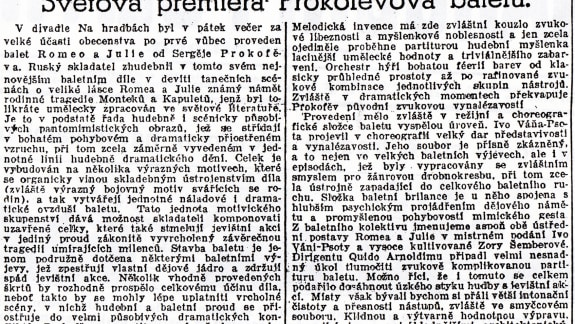 Romeo and Juliet (1938) World Premiere_News_Moravská Orlice_1. 1. 1939