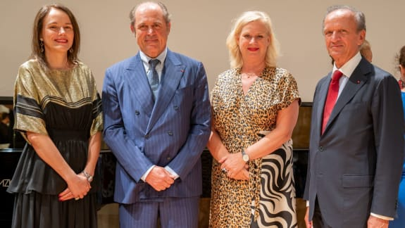 (From left to right) Sibylle Gallardo-Jammes, International Communications Director of Van Cleef & Arpels, Philippe Donnet, CEO of Generali Group,  Barbara Gessler, Head of Unit Creative Euro