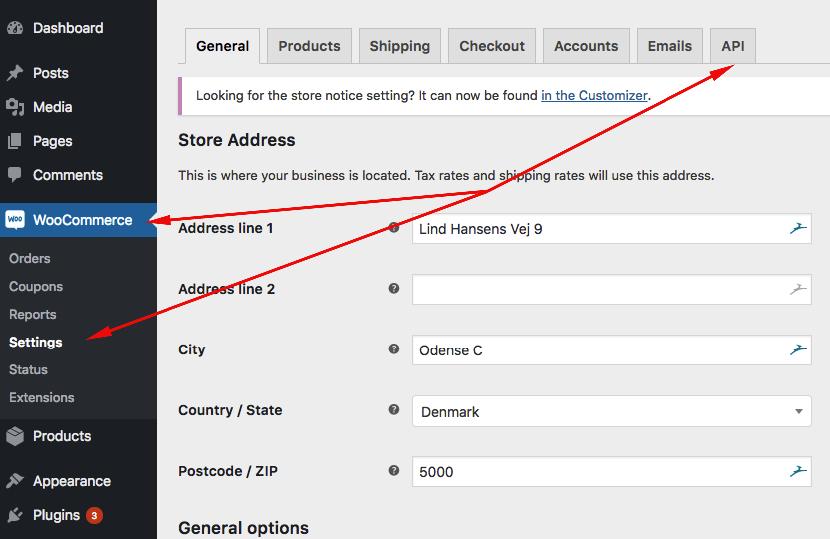 Woocommerce API Tab