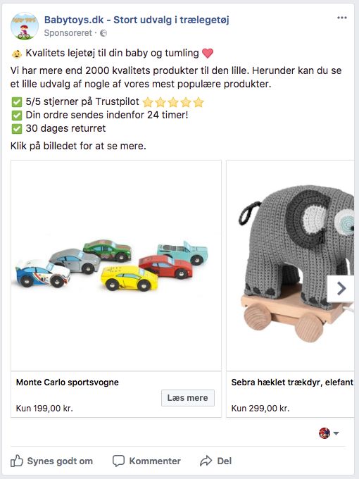 Facebook annonce uden overlays