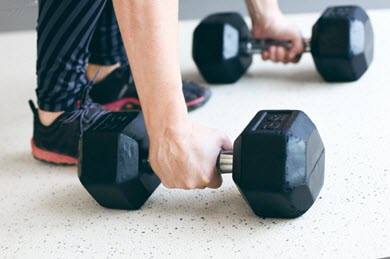 Weight training with dumbbells