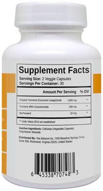 VitaPost Turmeric Curcumin Plus Supplement Facts