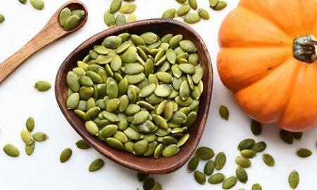 Pumpkin seeds in a cup