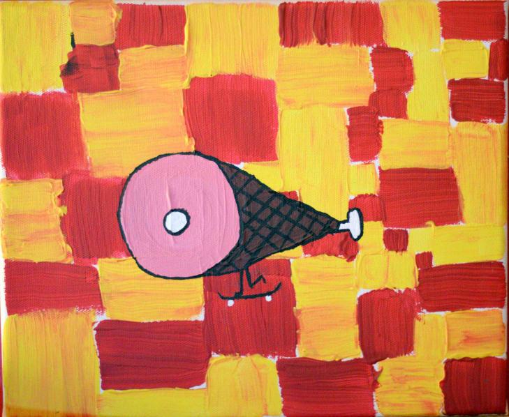 Photo de la toile 'Le Jambon Skater'. (Elle est vraiment belle)