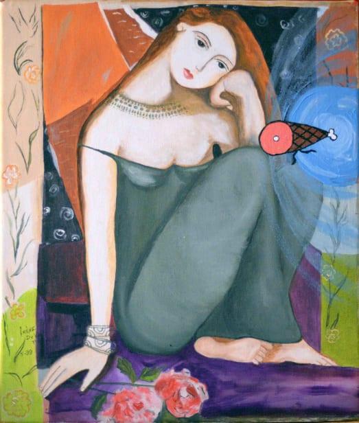Photo de la toile 'La Belle et le Jambon'. (Elle est vraiment belle)