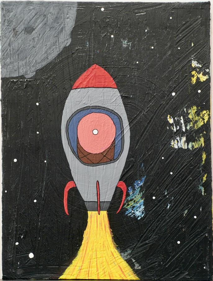 Photo de la toile 'Le Jambon Astronaute'. (Elle est vraiment belle)