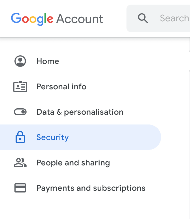"Screenshot: Under ""Data & personalization"" is the security tab."