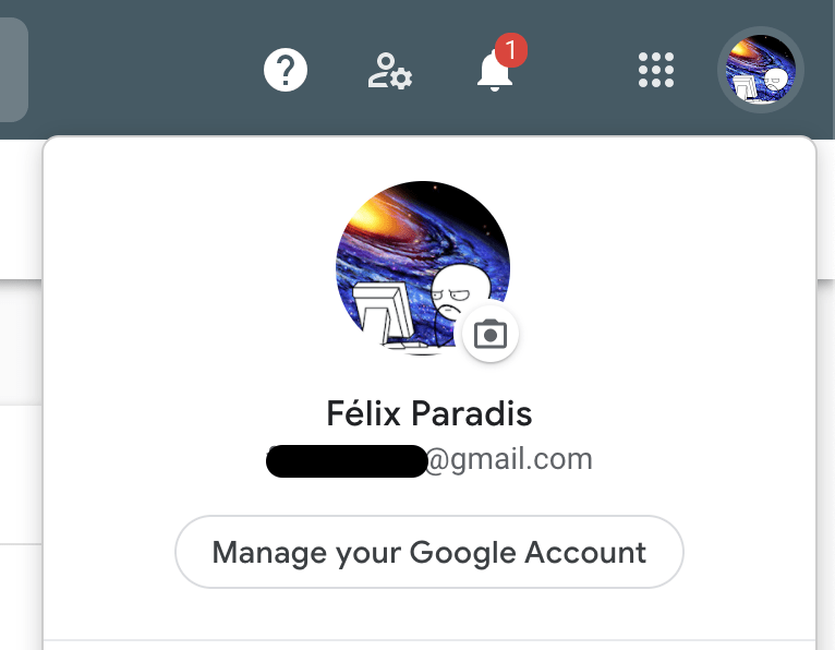 "Screenshot: clicking your avatar in a Google product yields ""manage your account"""