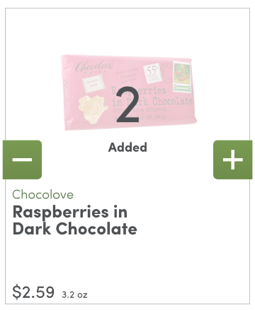 An example showing the product card when an item is in your cart.