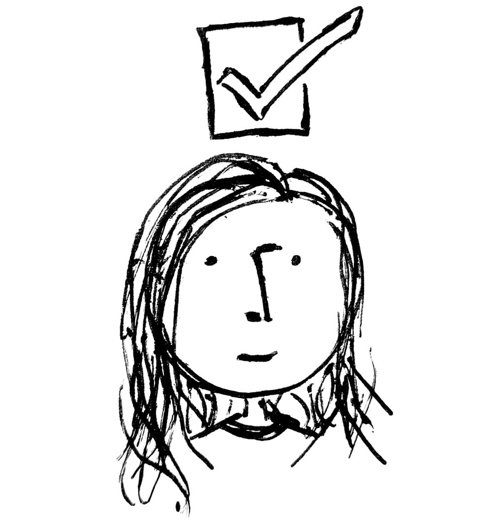 A sketched image of a person with a check above their head indicating a satisfied user of a system