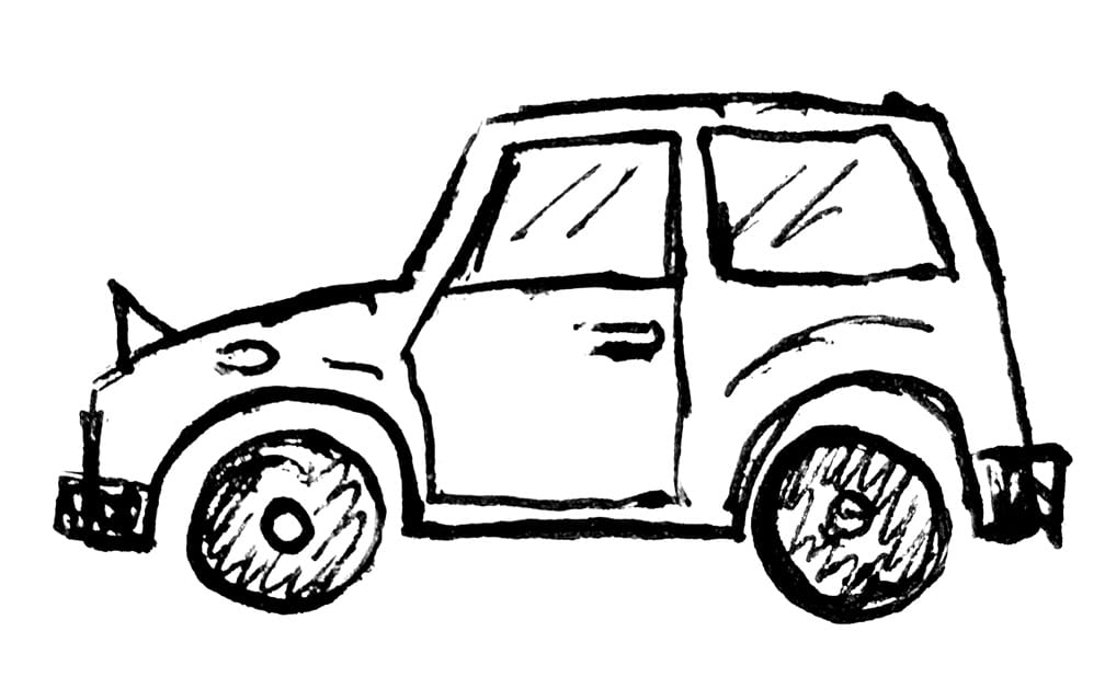 A sketched representation of the profile of a car
