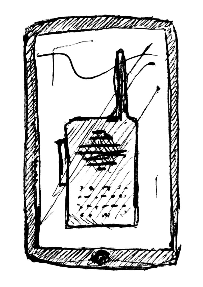 A sketched phone shows an image of an old-style walkie talkie on the cell phone screen