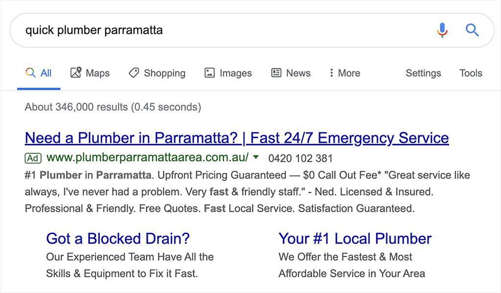 Top Google search result for a quick plumber in Parramatta