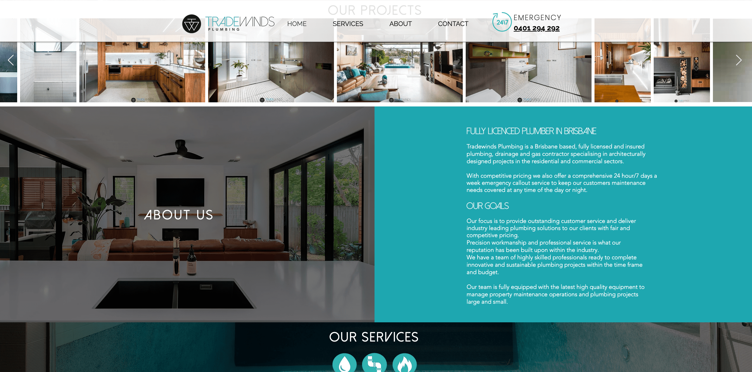 Example of a website for a plumbing business