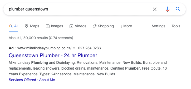 Top Google search result for a plumber in Queenstown