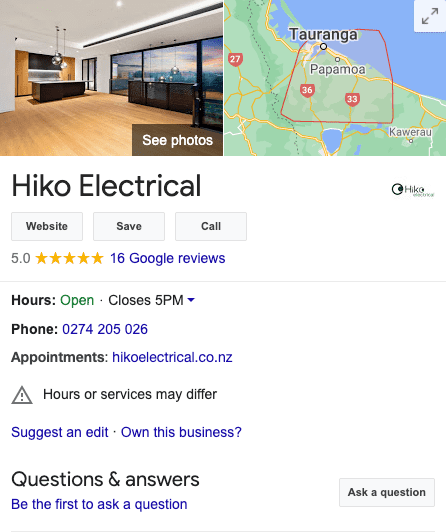 Example of a Google My Business profile for an electrical business