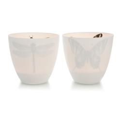 Telysglass hvit 2 ass sommerfugl/øyenstikker