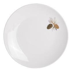 Asjett Kongle m/gulldekor hvit 21 cm