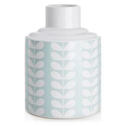 Vase retro blå m/blad H:21,5 cm
