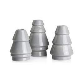 Lysestake 3 pk grå keramikk