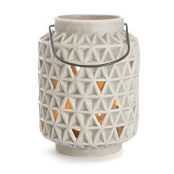 Lyslykt m/håndtak grå struktur H:14 cm