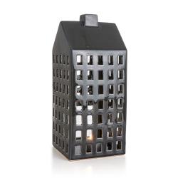 Lykt hus mørk grå H:37,5 cm