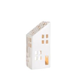 Dekorhus for telys hvit med skråtak H:19 cm