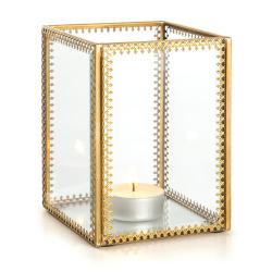 Lysglass Guri m/mønstret gullkant 12 cm