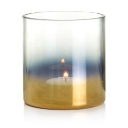 Telysglass sotet/gull H:11 cm