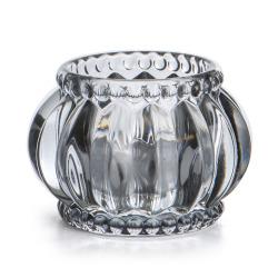 Telysglass Romanse 2 pk lys grå ø:7 cm
