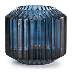 Lysglass Stripe blå 13 cm