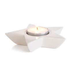 Telysholder porselen stjerne hvit