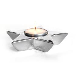 Telysholder i porselen stjerne sølv