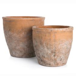 Potte s/2 terracotta hvitvasket H:18,5/15,5 cm